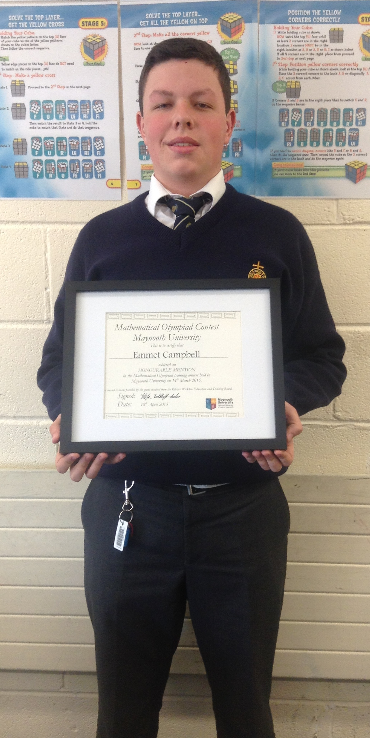 Emmet Campbell honoured in Mathematical Olympiad |